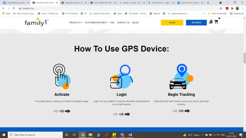 how to set up family1st gps tracker